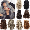 1pc Curly Wavy Hair Extention Synthetic Clip In Hair Extension Heat Resistant Hairpiece Natural Curly Wavy Hair Extensions 24""