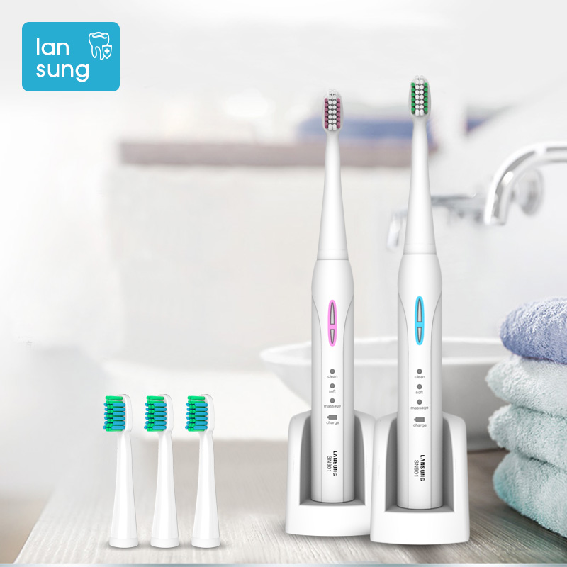 LANSUNG Ultrasonic Electric Toothbrush Rechargeable With 4 Replacement Heads Sonic Toothbrush Electric Toothbrush Tooth Brush 5