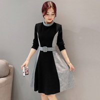 High Quality Womens Clothing Spring Autumn Winter Dress Vestidos Fashion Patchwork Women Wool Dress Vintage Party Dresses