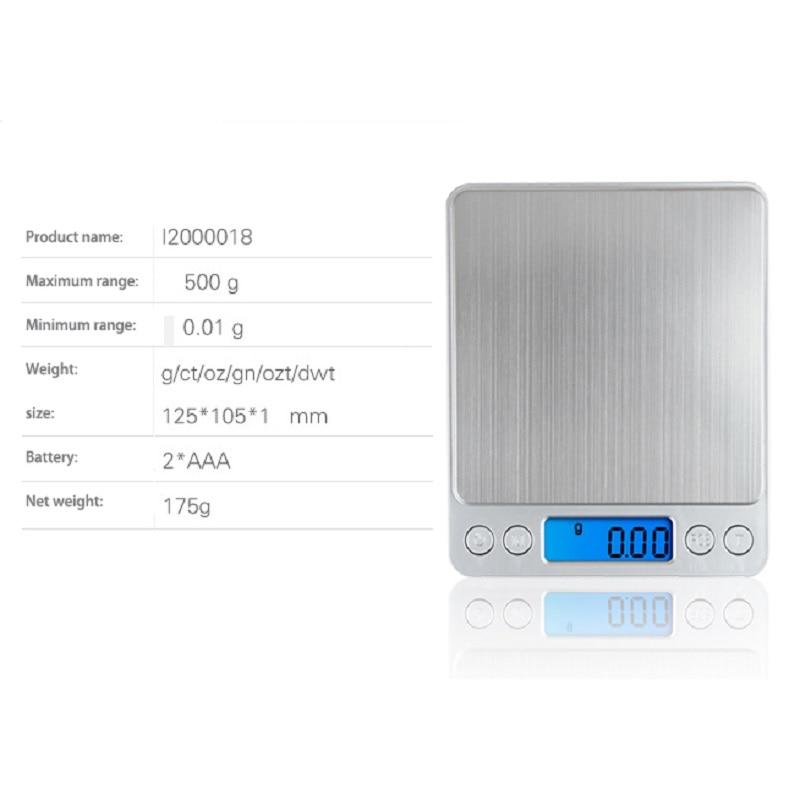 500 g x 0,01 g hordozható mini elektronikus digitális mérlegek - Mérőműszerek - Fénykép 5
