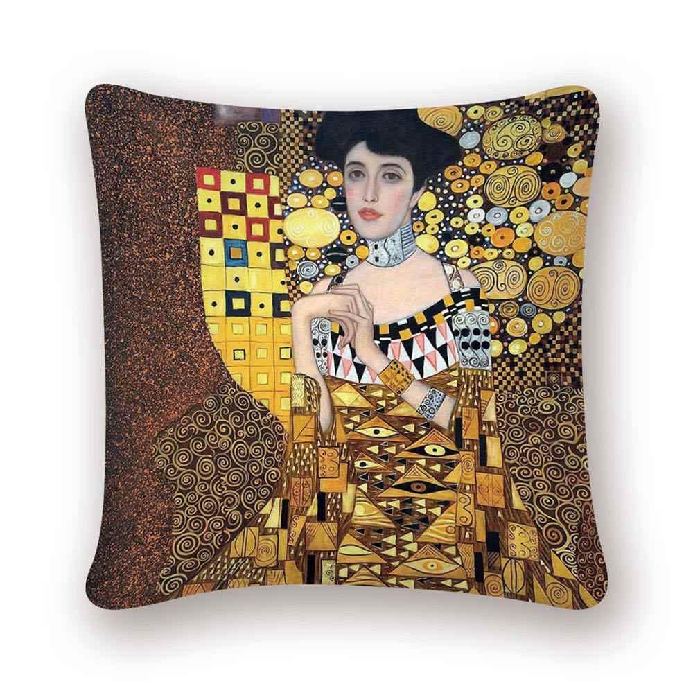 غوستاف كليمت النفط اللوحة كيس وسادة نمط الذهب طباعة غطاء الوسادة خمر وسادة للديكور غطاء أريكة كرسي كيس وسادة