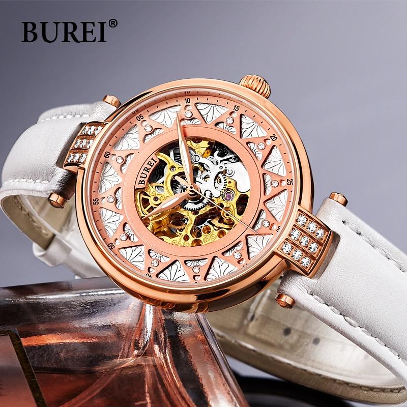 € 114.23 |BUREI femmes saphir robe montre dame de luxe squelette montre bracelet véritable en cuir automatique mécanique montre femme casual horloge