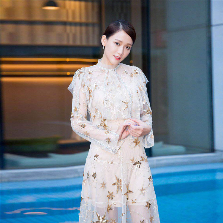 New  industries stars sequins embroidery perspective gauze fairy  dress early autumn   style