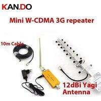 Yeni!!! w/10dbi yagi anten + 10 metre kablo, 2100 Mhz 3G WCDMA booster tekrarlayıcı, 3G cep telefonu sinyal amplikatörlü