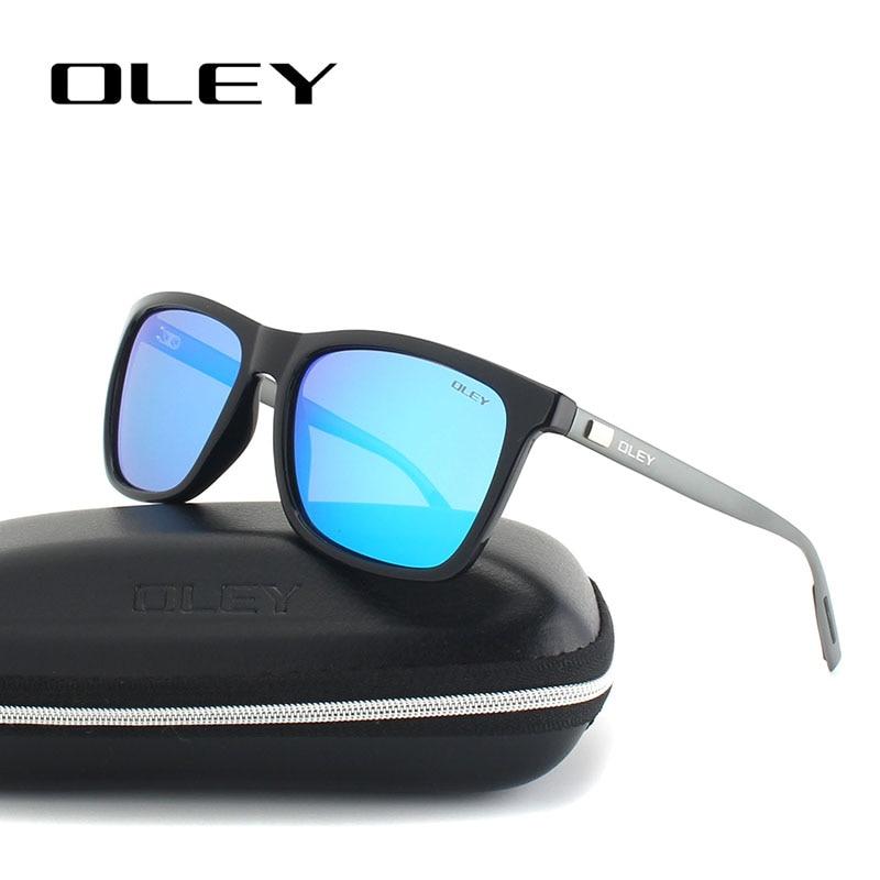 OLEY Alüminyum magnezyum + R90 moda güneş gözlüğü erkek kadın polarize kare güneş gözlükleri Sürüş Gözlük zonnebril dames