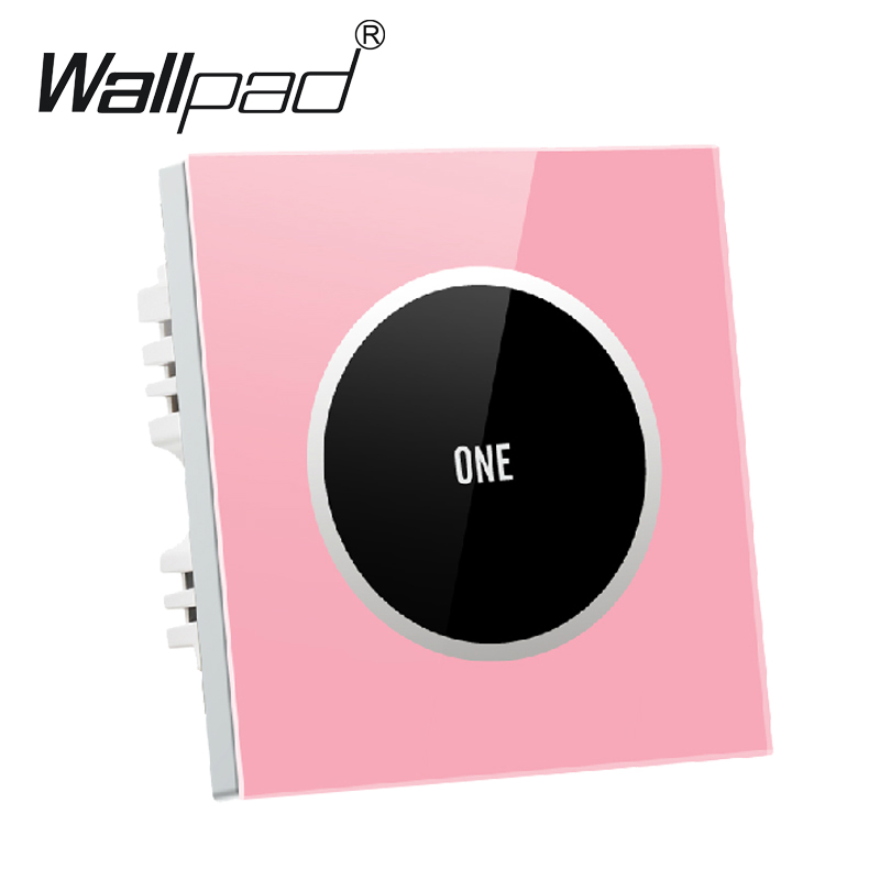 Pink Luxury 1 gang 2 way Glass Screen Touch Light Wall Switch, Electrical 110V~250V touch wall switch socket,Free Shipping free shipping new fashion carving patterns design electric wall light switch 1 gang 1 way from manufacturer supplier 100 250v m