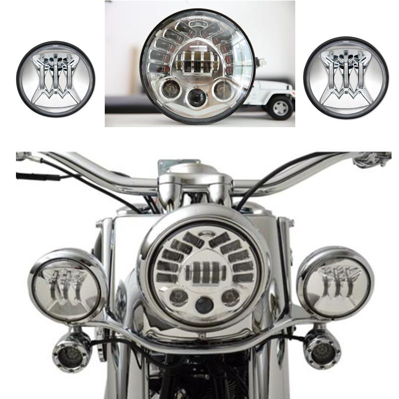 Ensemble 7 pouces Adaptative LED Harley Moto Phare + Paire 4.5 pouce Passant Brouillard Lumières Pour Harley Davidson