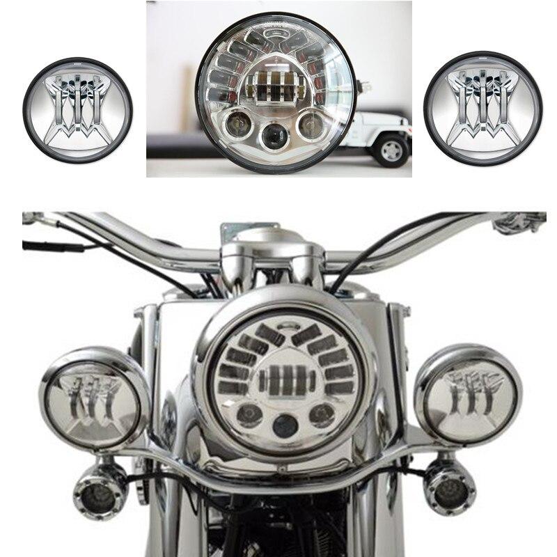 Set 7 pollici Adaptive LED Harley Moto Faro + Coppia 4.5 pollice Passando Fari Luci Per Harley Davidson