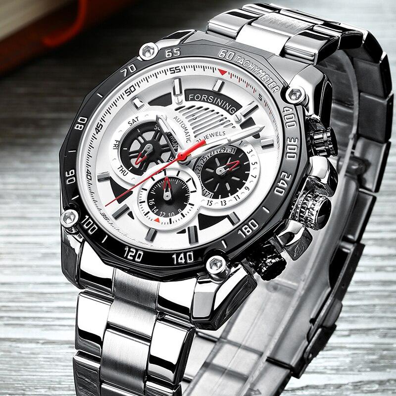 Men Watches Male Top Brand Luxury Skeleton Automatic Mechanical Watch Men Waterproof Full Steel Business Watch Relogio Masculino