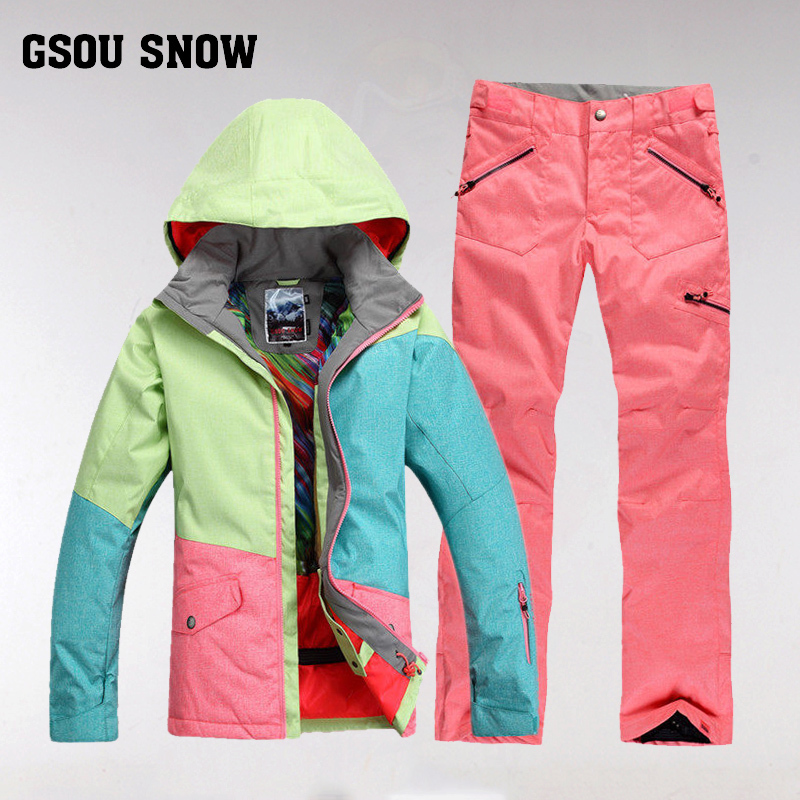 GSOU SNOW Brand Ski Suit Women Waterproof Ski Jacket Snowboard Pants Winter Mountain Skiing Suit Female Outdoor Sport Clothing gsou snow brand ski suit women ski jacket pants winter outdoor waterproof cheap skiing suit female snowboard sets sport clothing