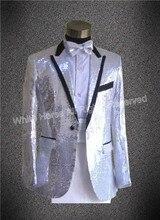 Men sequin blazer silver casaco masculino concert blazer men sequin men blaser masculino men stage singer jacket