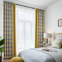 מודפס גיאומטרי גל blackout וילונות וילונות וילונות לסלון מודרני חדר שינה מטבח וילונות סתיו גל