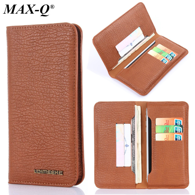 MAX-Q PU Leather Wallet Purse Universal Case For iPhone 7 5S 6 6s Plus for Galaxy S8 S7 S6 with Card Slot Full Protective Cover