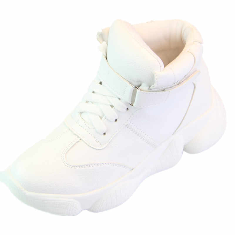 810b608fac2 SWYIVY Plain White Shoes Sneakers Female High Top 2019 Spring Autumn New  Woman Casual Shoes Hook Loop Platform Sneaker White 40