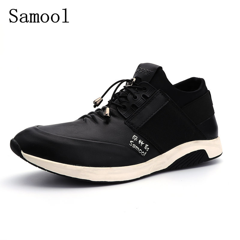 Man High Quality Casual Shoes Spring Autumn Lace Up Style Genuine Leather Fashion Flats Rubber Low heeled Men Business Shoes spring autumn high quality patchwork future leather high top men casual shoes lace up mixed colors flats ankle wrap mens shoes
