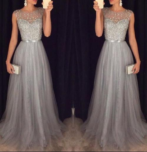 Sleeveless Elegant A-line Grey Tulle   Prom     Dresses   2017 Sparkly Sequins Beaded Evening   Dresses   Formal Evening Gown Custom M