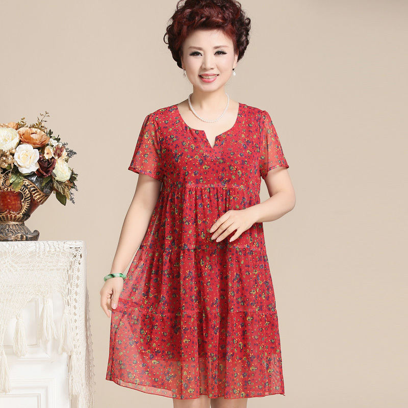 Summer Dresses For Older Women Dress Plus Size Print Fl Chiffon V Neck 40 50 Years Middle Aged Mother Clothing In From S