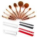 10pcs Oval Powder Blusher Lip Brush Fashion Rose Gold Toothbrush Mermaid Cosmetic Brush + 1pcs Makeup brushes Holder Stand Shelf