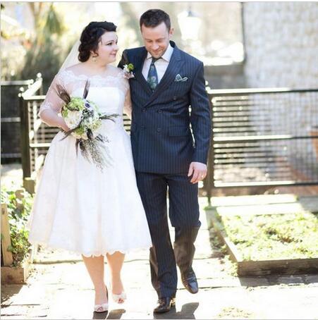 Popular Tea Length Plus Size Wedding Dress-Buy Cheap Tea Length ...