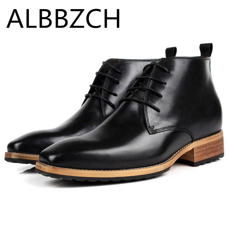 Inside Height Increase Mens Business Dress Work Boots Shoes Men High Heels England Mens Square Toe Career Office Ankle BootsInside Height Increase Mens Business Dress Work Boots Shoes Men High Heels England Mens Square Toe Career Office Ankle Boots