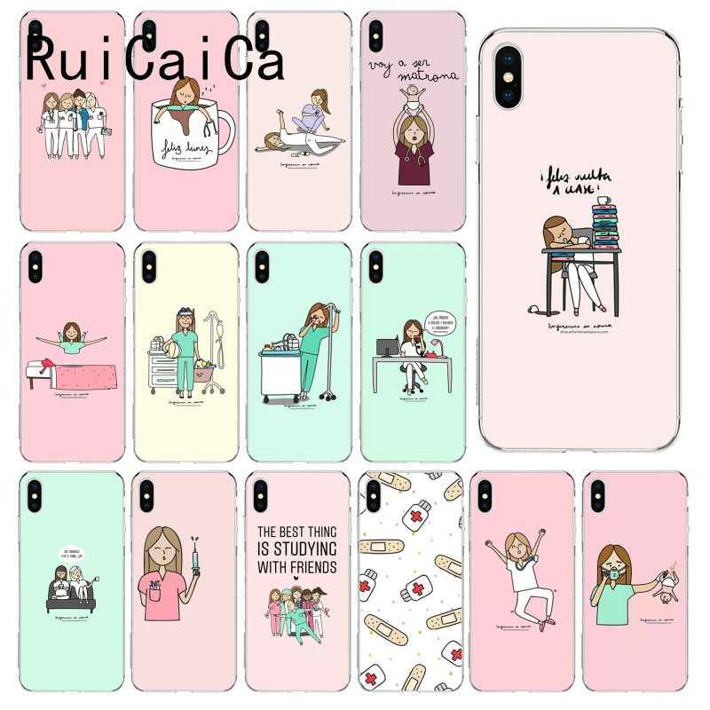 RuiCaiCa Cartoon Doktor Nurse Muster TPU Weichen Telefon Fall für iPhone 6S 6plus 7 7plus 8 8 plus X Xs MAX 5 5S XR 10