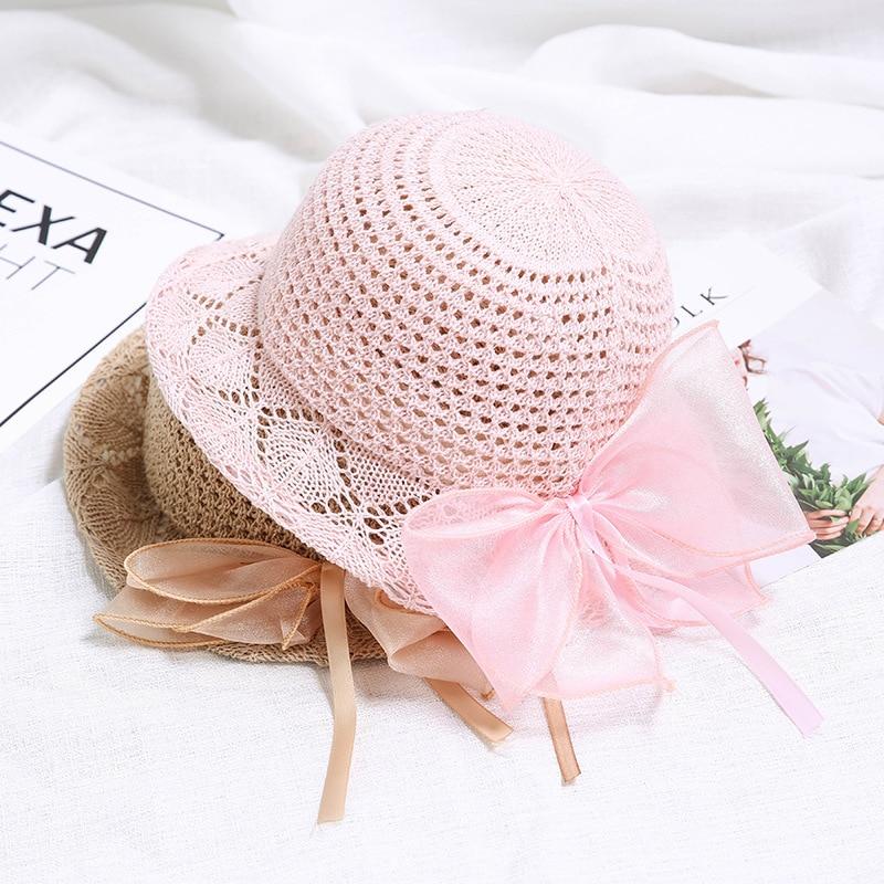 Zielsetzung Schöne Baby Sommer Caps Großer Spitze Bowknot Hohl Panama Caps Für Mädchen Mesh Caps Casual Strick Beach Caps Baby Foto Zubehör