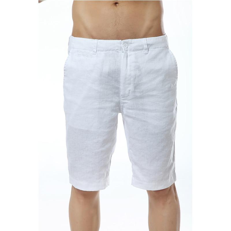 7 Colors Italy Linen Casual Shorts Men Summer Flax Fashion Short Men White Solid Shorts Mens Stright Brand Short Mens Bermuda