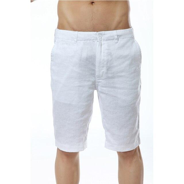 7 colores Italia Lino casual shorts hombres verano Lino moda corto hombres  blanco sólido shorts mens 636a20e47032a