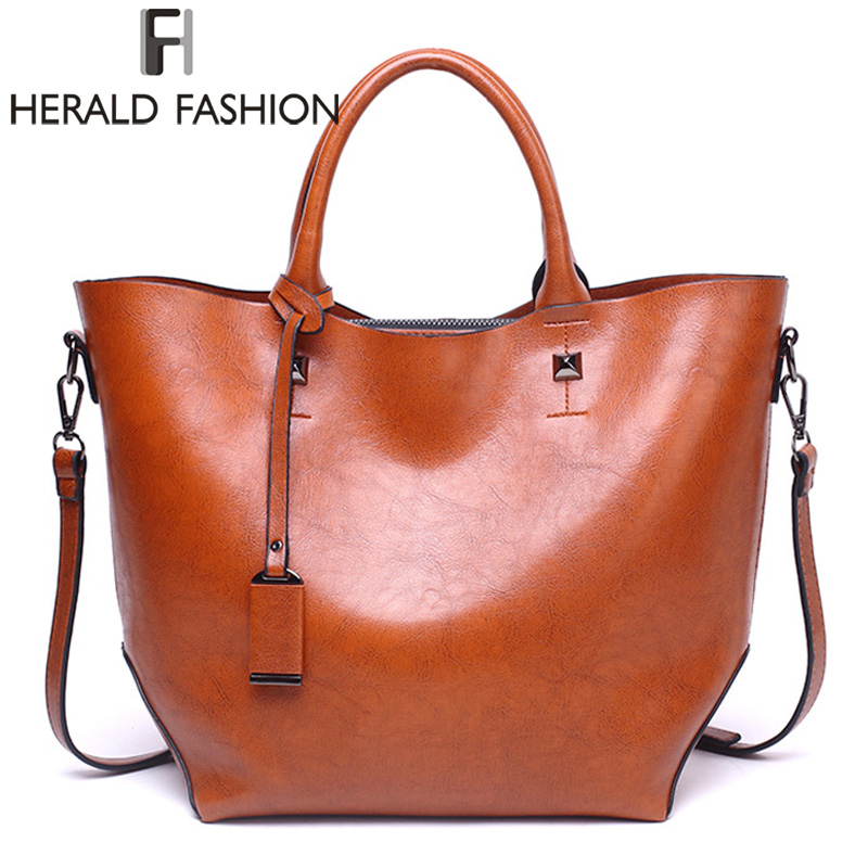 Herald Fashion Women Handbag Large Capacity Tote Bag High Quality PU Leather Shoulder Bag Female Causal Bucket Messenger Bag high quality authentic famous polo golf double clothing bag men travel golf shoes bag custom handbag large capacity45 26 34 cm