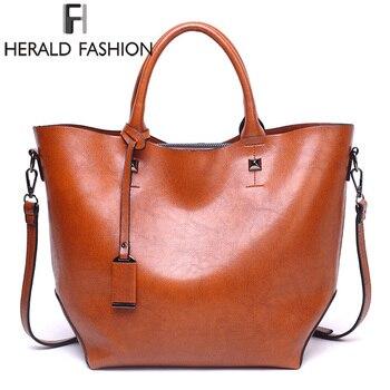 Herald Fashion Women Handbag Large Capacity Tote Bag High Quality PU Leather Shoulder Bag Female Causal Bucket Messenger Bag grande bolsas femininas de couro