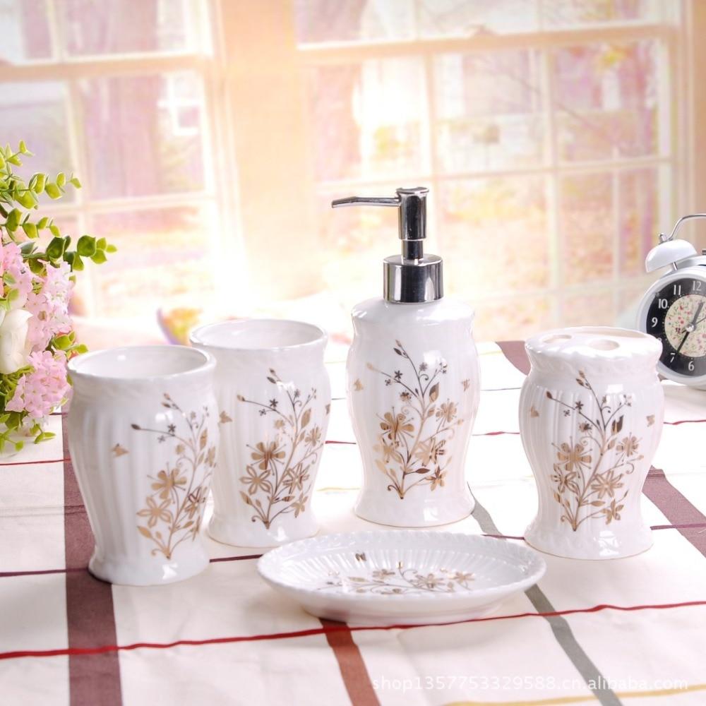 Five Piece Ceramic Bathroom Set Toothbrush Holder Soap Dispenser Toiletries Bathroom Accessories