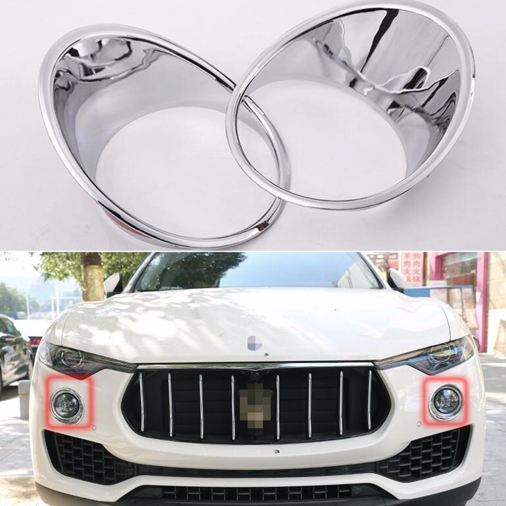 TTCR-II Car Accessory Front Fog Light Lamp Cover Ring Decor Trim ABS Chrome For Maserati levante 2016 Chromium Styling Stickers hot sale abs chromed front behind fog lamp cover 2pcs set car accessories for volkswagen vw tiguan 2010 2011 2012 2013
