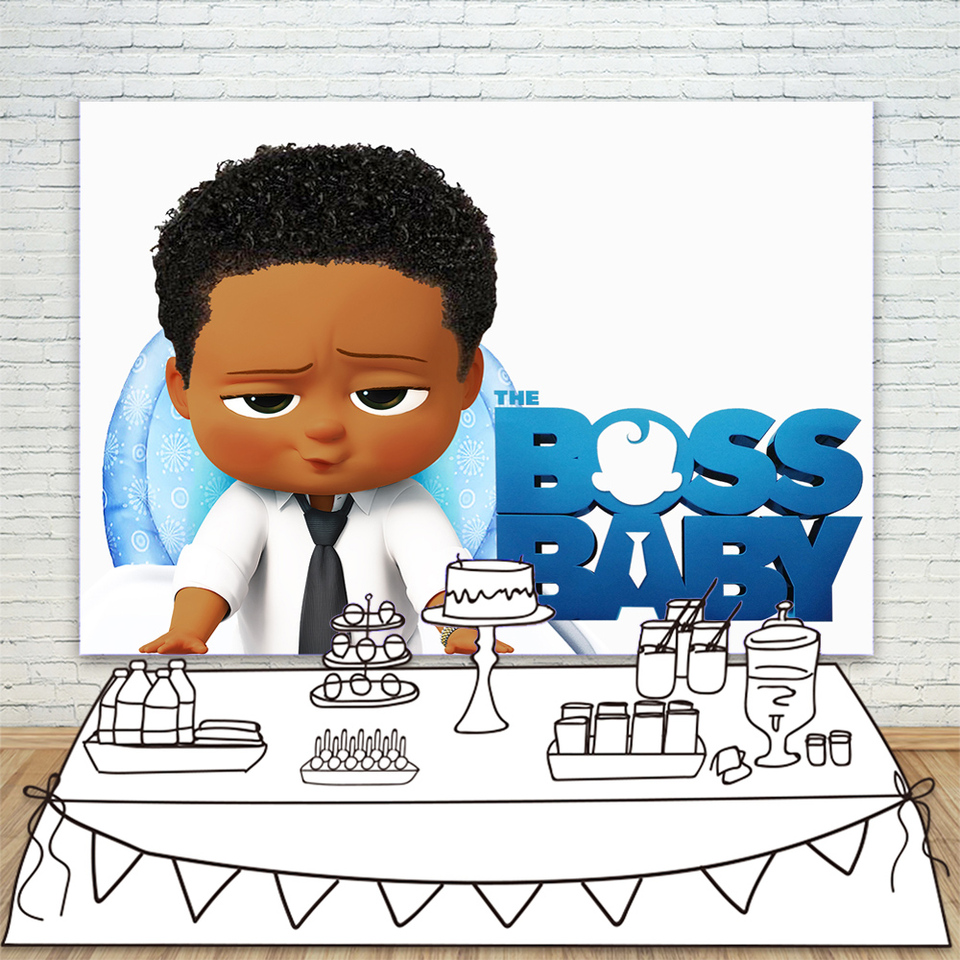 Colorwonder Baby Boy With Black Curly Hair And Golden Watch 7x5ft African American Boss Baby White Backdrops For Kids Birthday