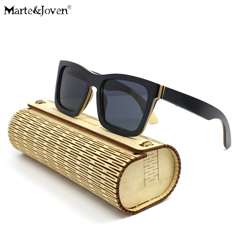 martejoven fashion multicolor wood frame square wooden sunglasses women men mirrored hd polarized driving eyewears with case