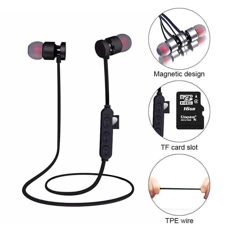 Sports bluetooth headset/wireless earbuds with built-in microphone earphone music Supports TF memory card top quality wireless bluetooth earphone hd sport stereo headphone music headset universal earphone with built in microphone