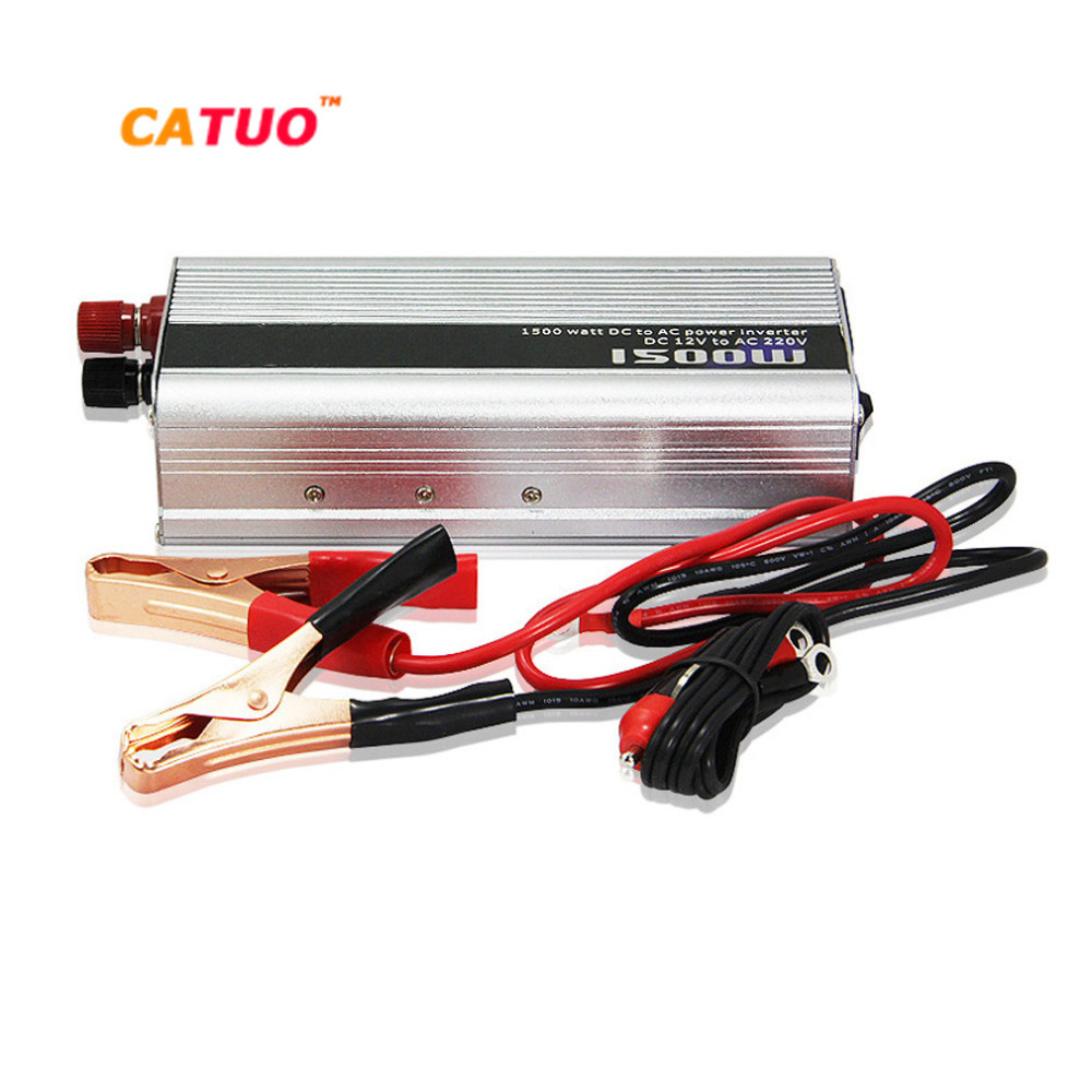 CATUO Power Inverter Converter 1500w DC 12V to AC 220V 50Hz Car Battery Charger Adapter Car Power Supply ST-N014 Drop Shipping new acehe 1500w car dc 12v to ac 220v overload protection reverse polarity protection power inverter charger converter