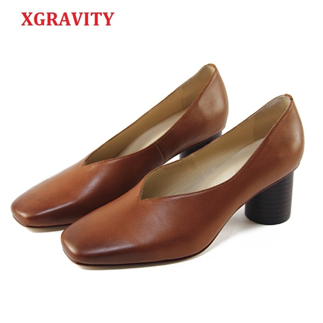 new style 727a7 0eca6 XGRAVITY Echtem Leder Designer Vintage Abend Schuhe Damen Fashion Square  Toe V Cut Retro Frau High Heel Pumps C282
