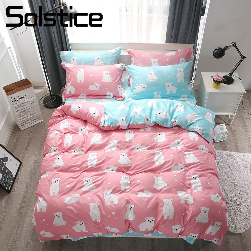 Solstice Home Textile Girl Kid Bedding Suit Pink Blue Polar Bear Bed Sheet Pillowcase Duvet Cover Teen Child Linen Set Twin 4Pcs