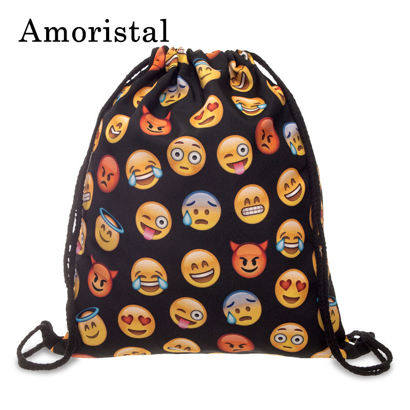 Drawstring Bag Fashion Women Emoji Backpack 3D Printing Beach Fitness Sport Travel Softback Women/Mens Backpacks Bookbags B205 unisex bag emoji backpack 2016 new fashion women backpacks 3d printing bags drawstring backpack nov28