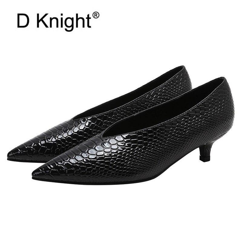 Coréen bout pointu talons aiguilles chaussures simples femme Simple à talons bas pompes femmes chaussures Sexy Crocodile en cuir verni pompe talon