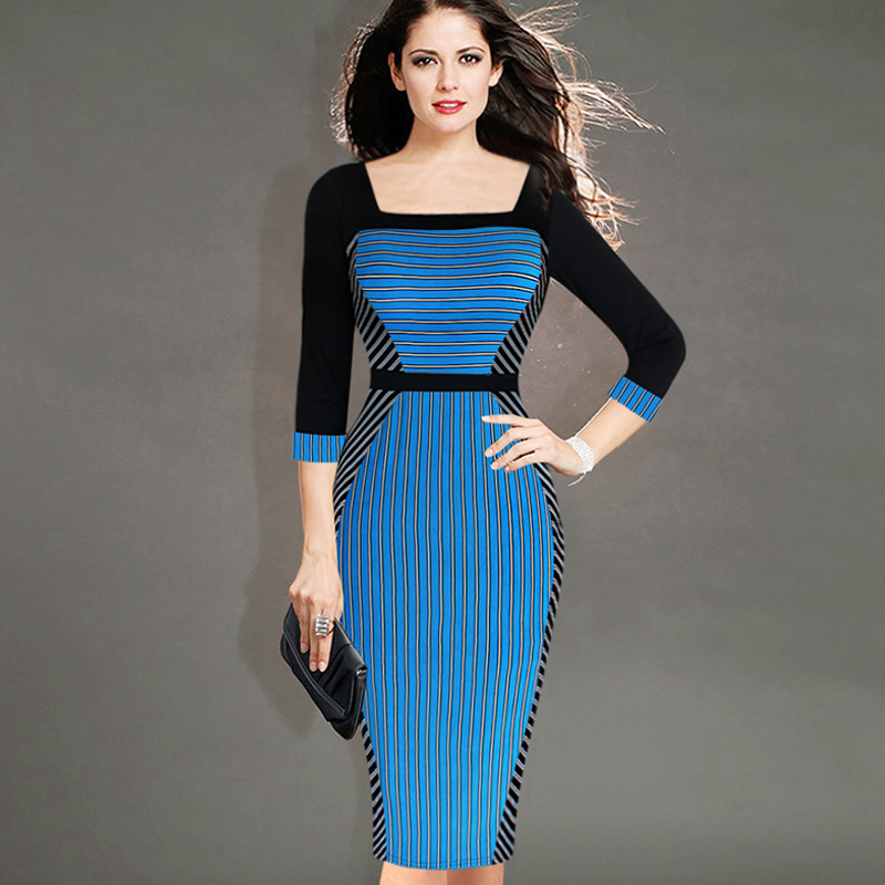 9eb948449cfcd High Class woman Fashion Optical Illusion Striped Long Sleeve ...