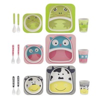 PREUP 5Pcs Baby Dishes Tableware Dinnerware Set Bamboo Fiber Baby Feeding Set Bowl Plate Forks Spoon