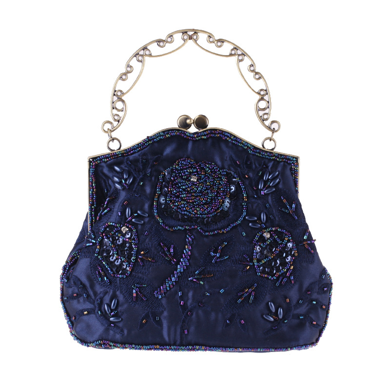 Retro Embroidered Bag,Vintage Silk Embroidered Dinner Bag, Classical Women Embroidery Retro Folk Style Silk Cheongsam Bag vintage embroidered strapless corset for women