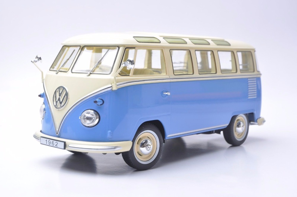1:18 Diecast Model for Volkswagen VW T1 Samba 1962 Blue Bus Kombi Alloy Toy Car Miniature Collection Gifts T2 1 38 china gold dragon bus models xml6122 diecast bus model blue