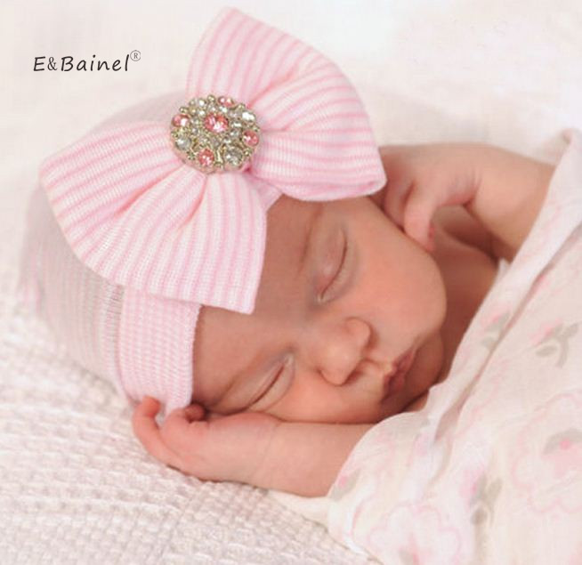 E&Bainel Crochet Baby Spring Hat Bow Newborn Beanie Baby Girls Cotton Knit Beanie Infant Striped Caps Toddler Hat цена 2017