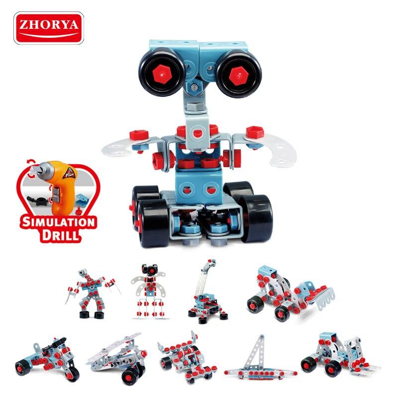 Zhorya 550 pièces 10in1 blocs de construction électriques Robot bateau avion Bulldozer modèle Kits éducatifs pour enfants bricolage jouets d'apprentissage