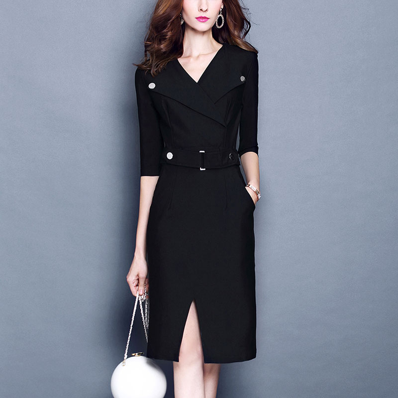 2019 herbst Frauen V-ausschnitt Bodycon Hüfte Dünnen Kleid Büro Dame OL Arbeit Tragen Feste Formale Safari Penceil Schritt Split Kleid vestidos