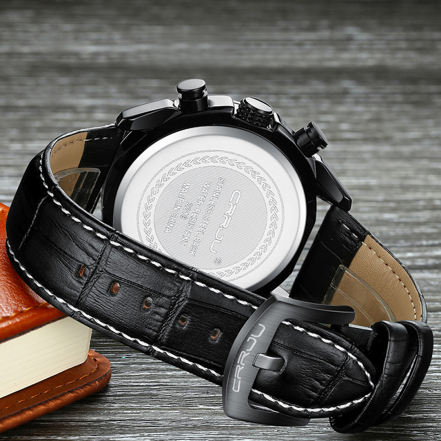 Men Chronograph Watches Crrju Top Luxury Brand Men Military Sport Wristwatch Quartz Watch Relogio Masculino support dropshipping