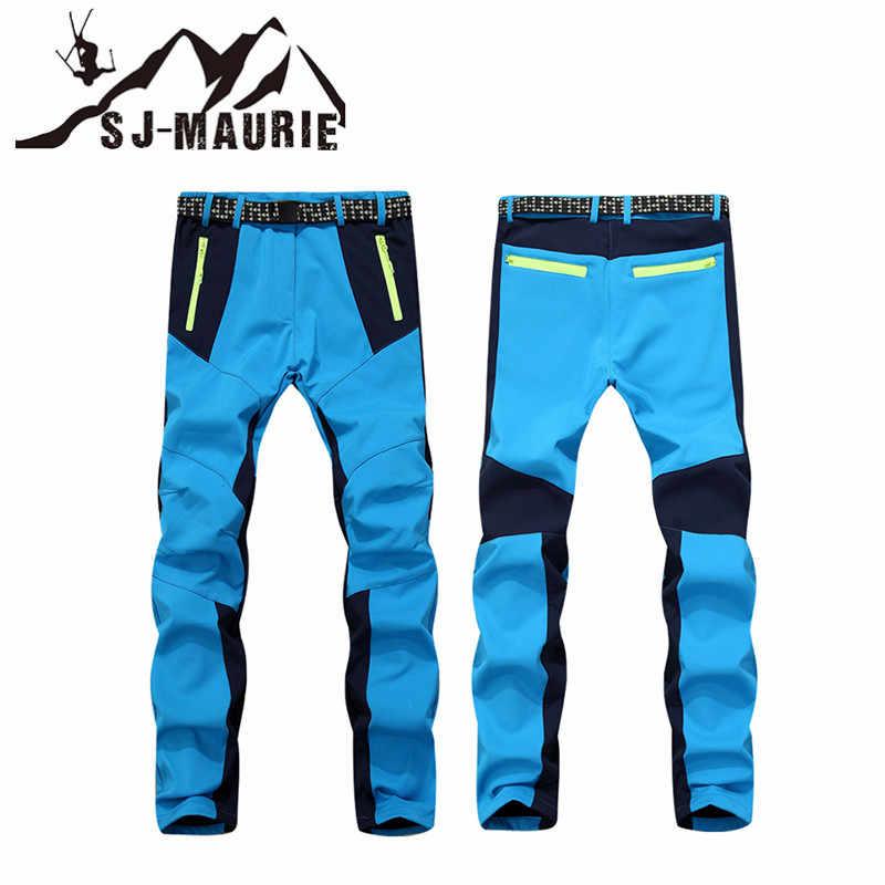 屋外の女性のスキートレッキングパンツ防水防風フリースソフトシェル厚くハイキングクライミング用ズボン
