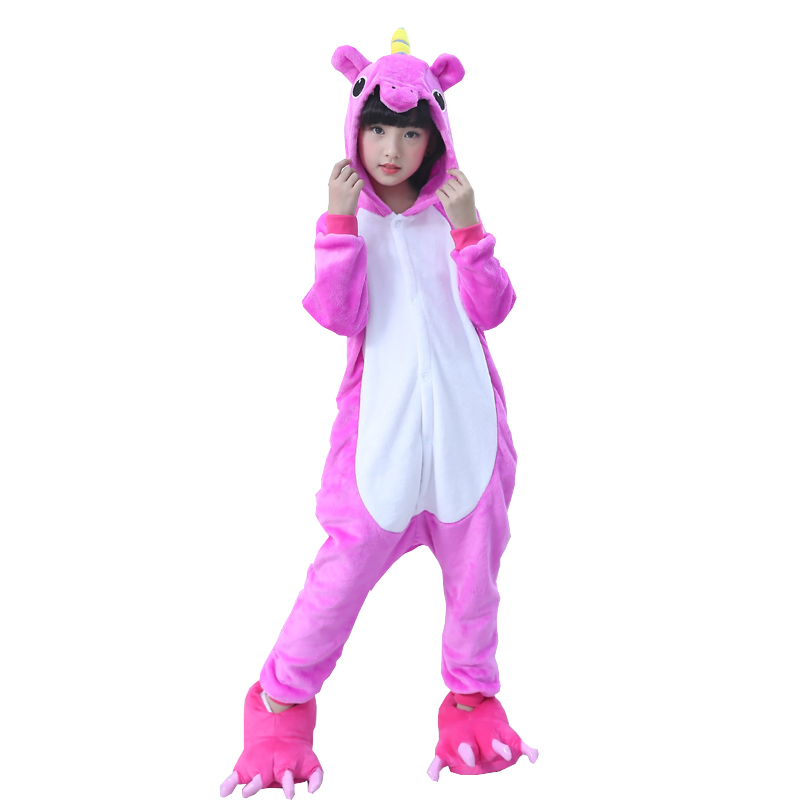 Kids Pajamas Flannel Animal Unicorn Pikachu Stitch Costume Cosplay Winter Cute Cartoon Children Sleepwear Baby Pyjamas Onesies
